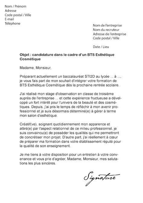Lettre De Motivation Vendeuse Cosmetique Gratuite Lettre De Motivation Bts Esth 233 Tique Cosm 233 Tique Mod 232 Le De Lettre