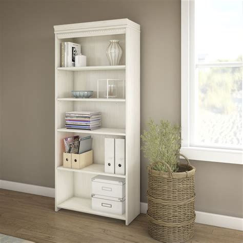 Bush Fairview 5 Shelf Bookcase In Antique White Wc53265 03 Antique White Bookcase Furniture
