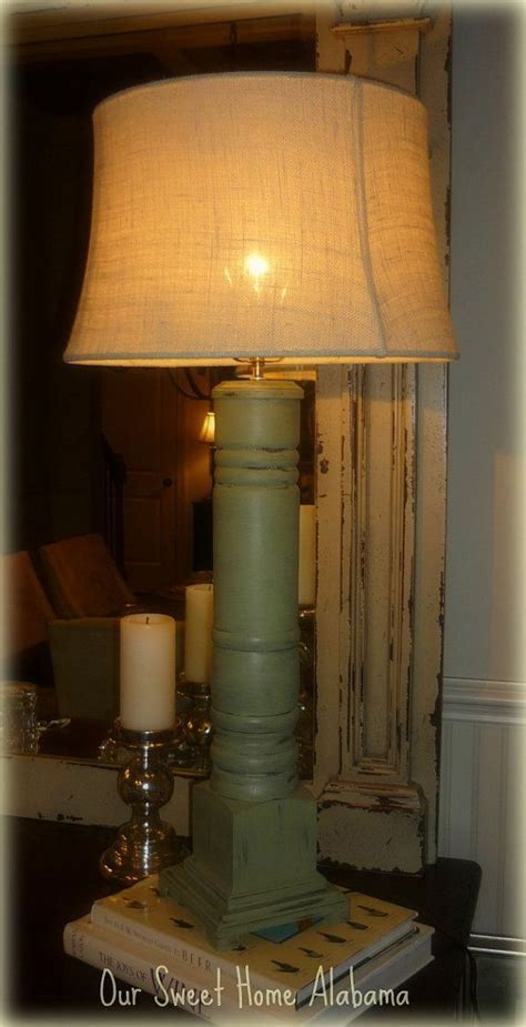 Distressed Grand Porch Column Table Lamp by