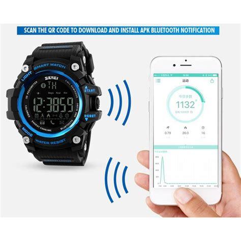 Jam Smartwatch 3 skmei jam tangan olahraga smartwatch bluetooth dg1227 bl black jakartanotebook