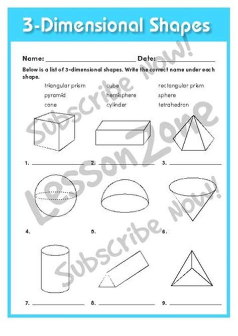 three dimensional shapes templates lesson zone nz shape