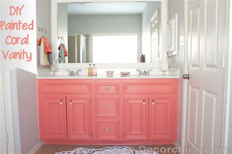 coral bathroom paint diy painted coral vanity decorchick