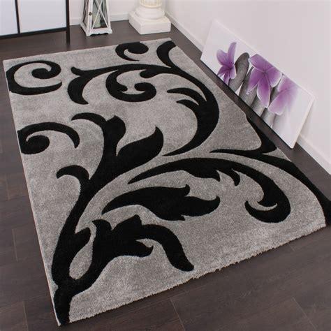 teppich grau schwarz designer teppich festival mit konturenschnitt muster grau