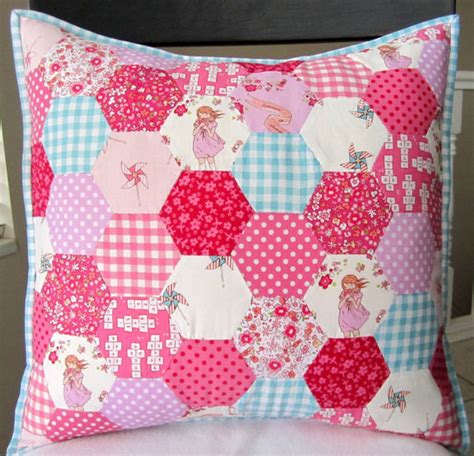 Patchwork Items - items similar to children at play hexagon patchwork pillow