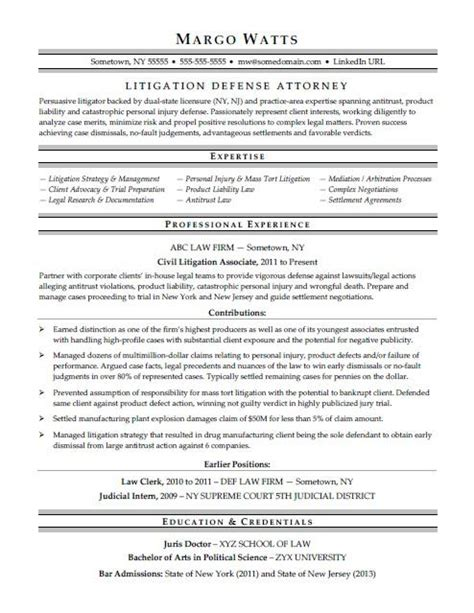 Lawyer Resume by Attorney Resume Sle