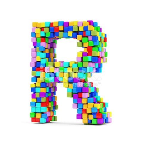 letters made from colorful cubes (letter r) stock photos