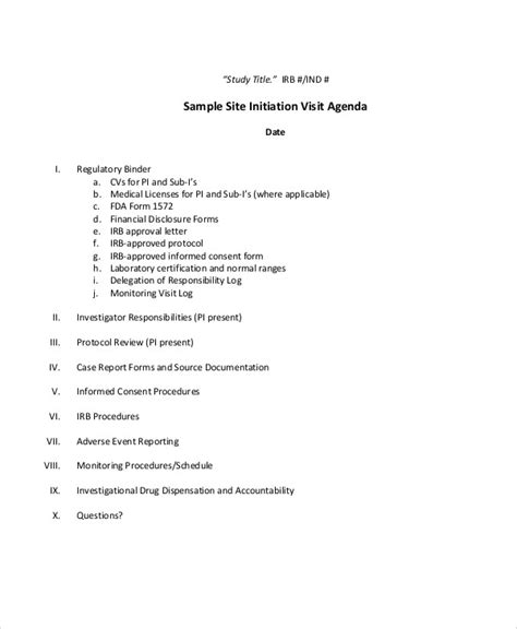 visit agenda template sle visit report site initiation visit agenda in pdf 9