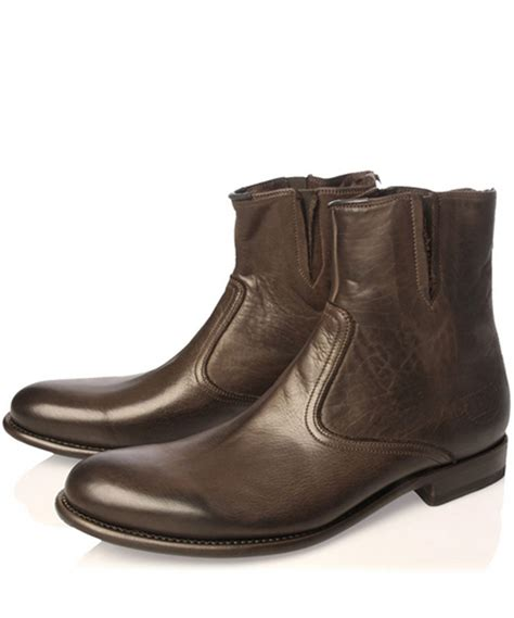 paul smith boots mens paul smith brown re york leather zip boots in brown for