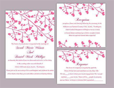printable heart invitation diy wedding invitation template set editable word file