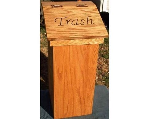 kitchen trash can wood wooden wastebasket free personalized