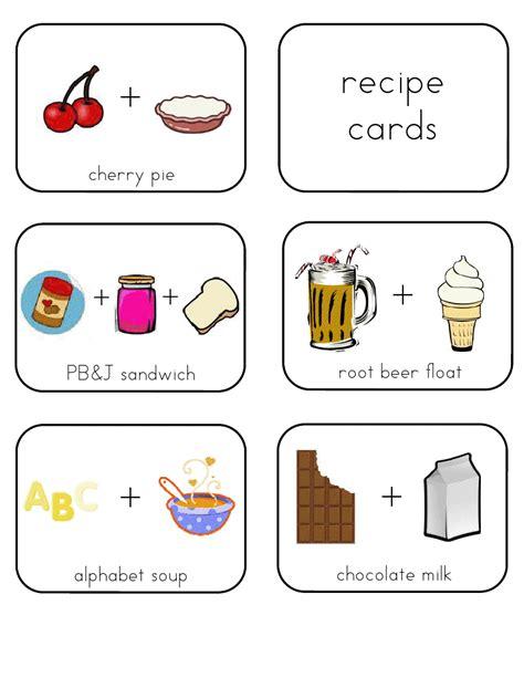 Preschool Recipe Card Template mrs home ec preschool lesson money