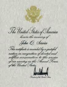 presidential memorial certificates national cemetery