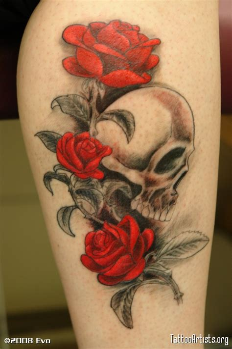 artistic rose tattoos designs with skull