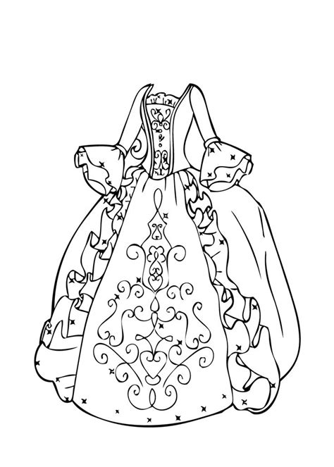 coloring page of a dress ball gown coloring page for girls printable free