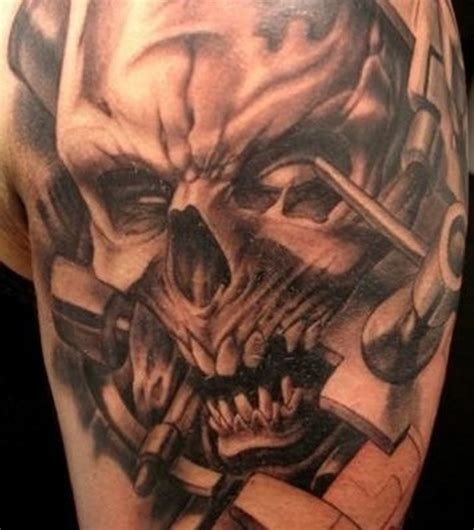 dangerous biomechanical skull tattoo design tattoos book