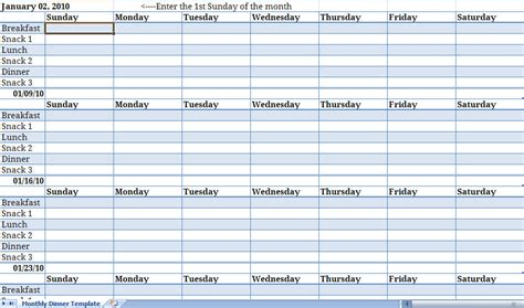 weekly meal calendar template monthly meal planner