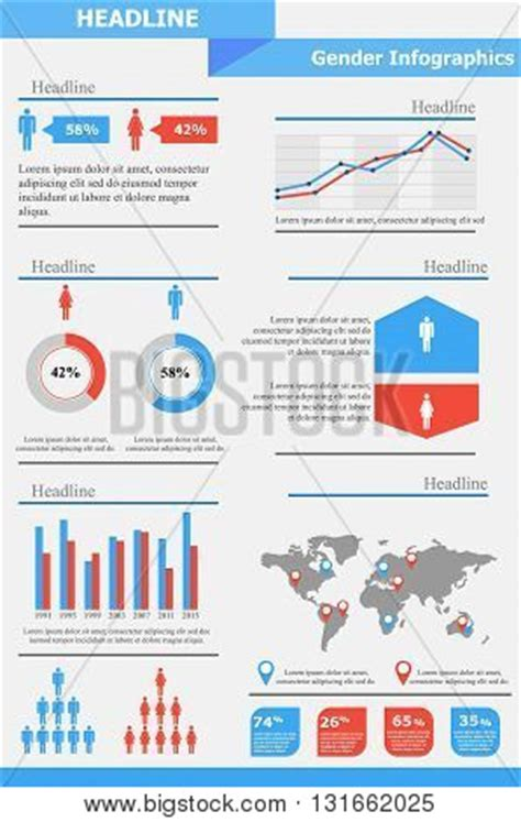 Gender Infographics Template Gender Equality Population Statistic Human Stock Vector Gender Infographic Template