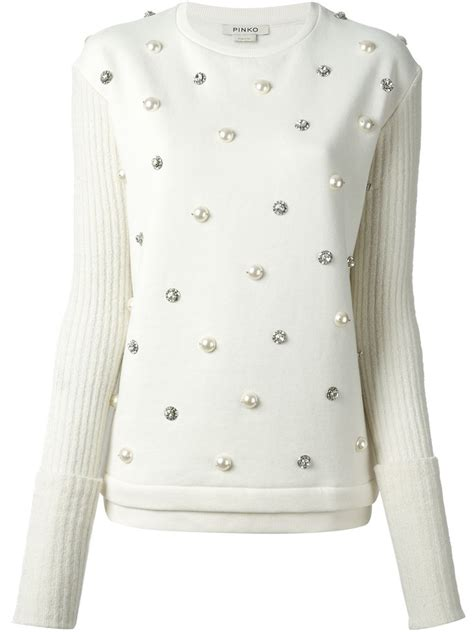 Embellished Sweater lyst pinko embellished sweater in white