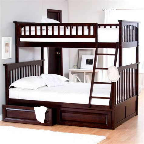 twin over full bunk bed with storage atlantic furniture columbia twin over full bunk bed kids