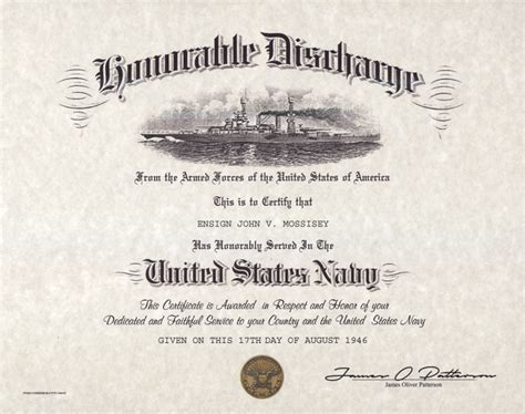 honorable discharge certificate template navy honorable discharge certificate version