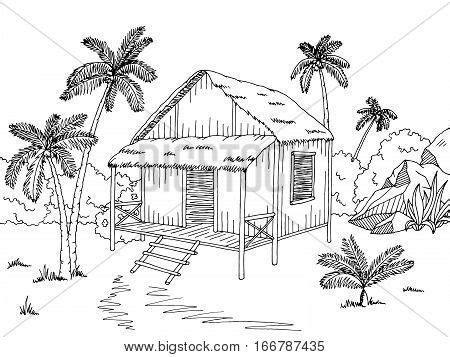 Wood Cabin Floor Plans jungle hut house graphic black vector amp photo bigstock