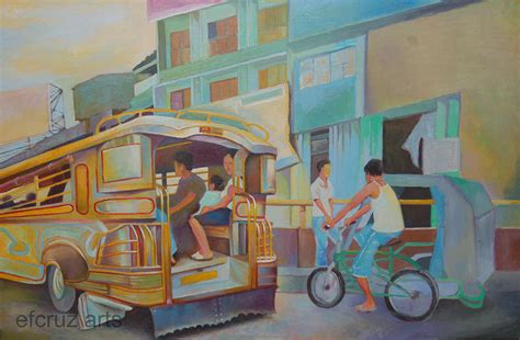 philippine jeep drawing philippine scene jeepney painting by efcruz arts