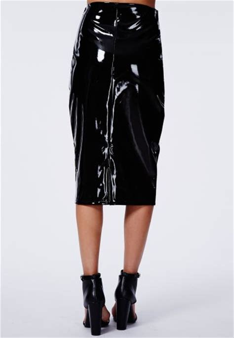 missguided mircia pvc midi skirt in black in black lyst
