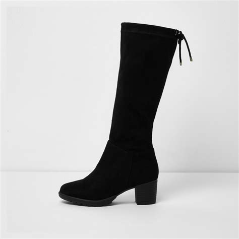 high heels for 5 year olds black knee high chunky block heel boots boots