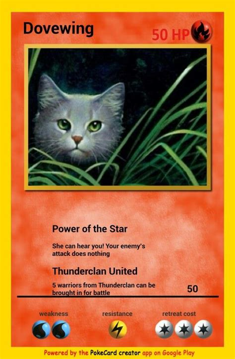 Cat Gift Card - dovewing pokemon card warrior cats pinterest pokemon cards pokemon and cards