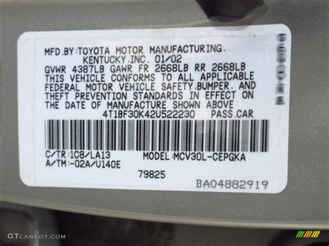 2002 camry color code 1c8 for lunar mist metallic photo 62568592 gtcarlot