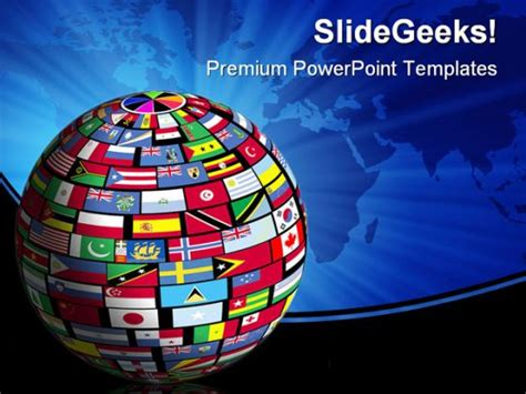 World Flags Globe Earth Powerpoint Background And Template 1210 Flags Of The World Powerpoint