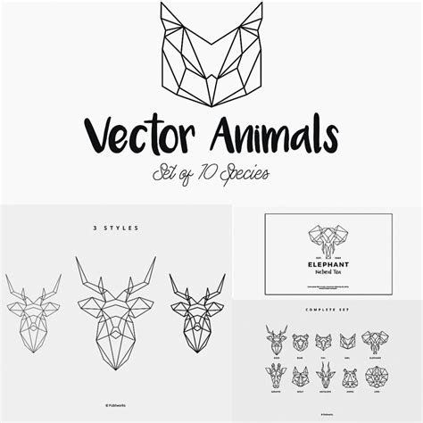 geometric vector animals set