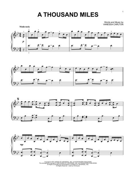 tutorial piano a thousand miles vanessa carlton piano solo sheet music books scores