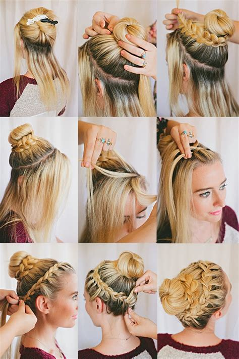 french braid bangs step by stoe double braided bun tutorial the shine project