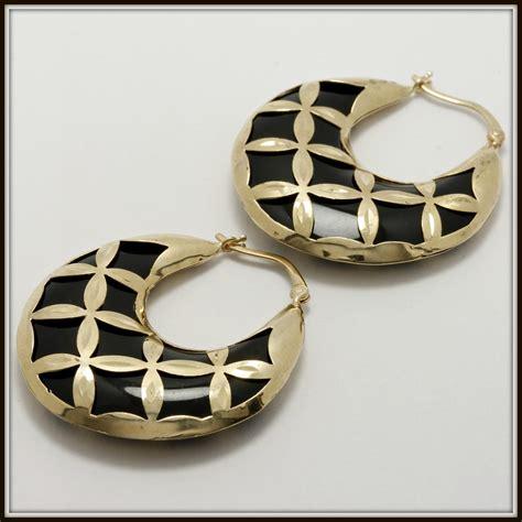 solid 14k yellow gold black onyx hoop earrings property