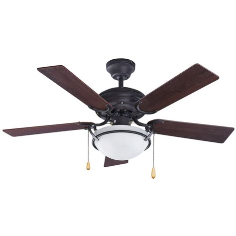 Ceiling Fans And Lights Shop Canarm 42 In Rubbed Bronze Downrod Mount Indoor Ceiling Fan With Light Kit 5 Blade At