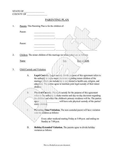separation agreement template ireland parenting plan child custody agreement template with