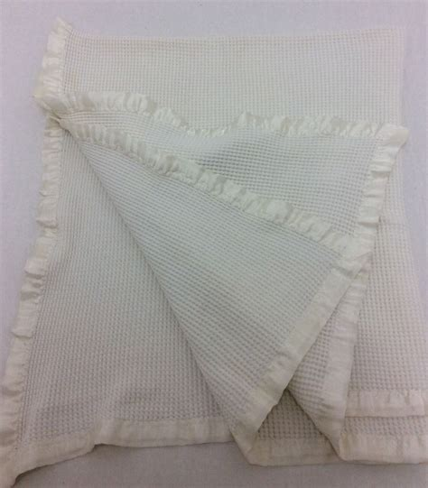 Thermal Blankets With Satin Trim by Vintage Thermal Baby Blanket White Silky Satin Trim