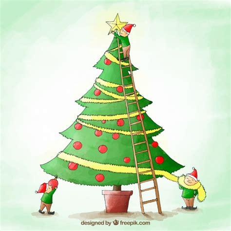 aquarell weihnachtsbaum hintergrund download der