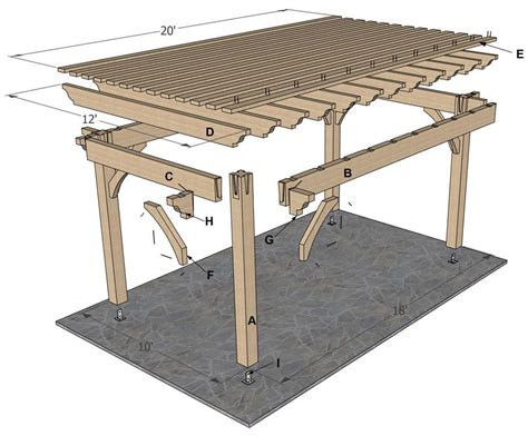 arbor building plans plan for a 12 x 20 timber frame over sized diy pergola