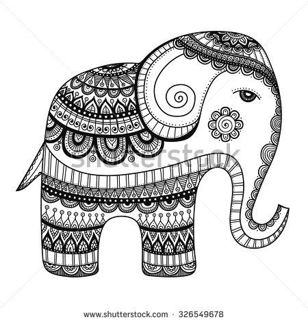 indian doodle for indian elephant doodle bishop stock vector