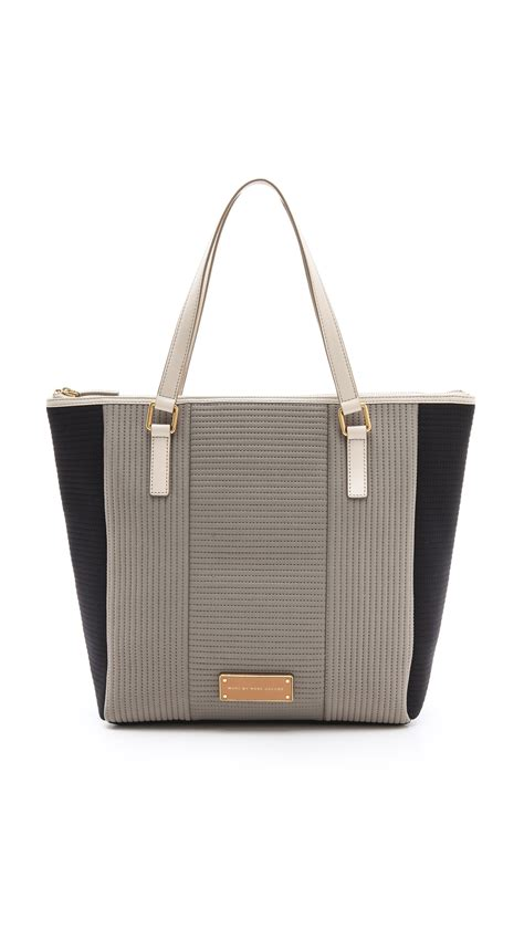 marc by marc take me quilted neoprene tote in gray