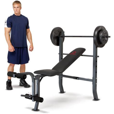 marcy bench press set marcy diamond weight bench w 80lb weight set md 2080