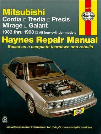1985 mitsubishi cordia and tredia repair shop manual original cordia tredia precis mirage galant repair manual 1983 1993