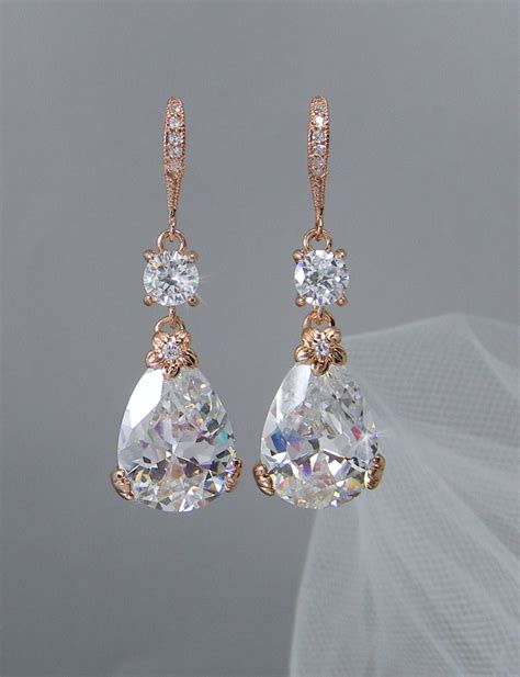 gold bridal earrings drop wedding earrings swarovski