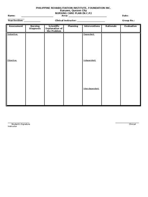 nursing care plan for c section nursing care plan format