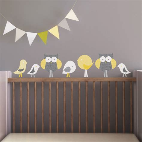 Etsy Wall Decals Nursery Items Similar To Owl Wall Decal Bird Wall Decal Nursery Wall Decal Baby Wall Decal Yellow