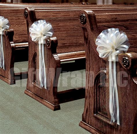 6 large ivory pew pull bows net tulle church chair