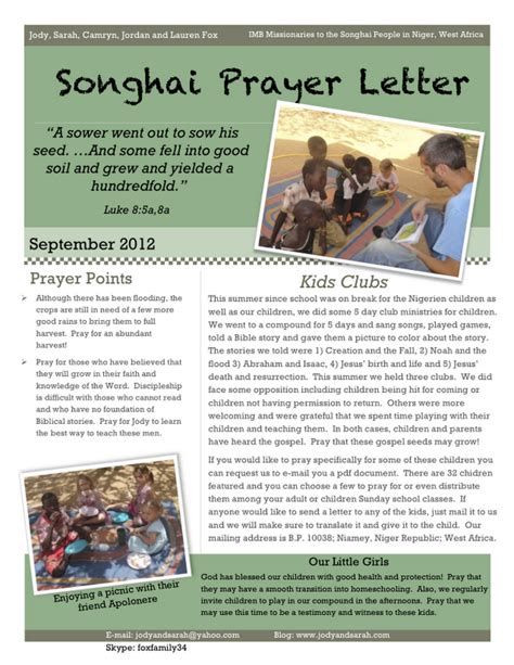 Seeking The Songhai Fox Family Prayer Letter September 2012 Prayer Letter Template