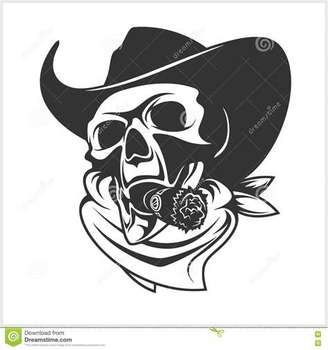 Kaos T Shirt Max Cavalera Wpap skull in cowboy hat and cigar stock vector image 72594547